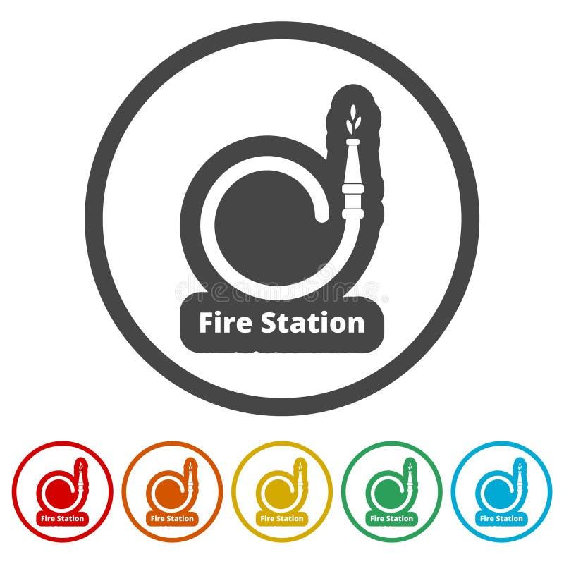 Symbolen för brandstationen, symboler för brandservice ställde in, 6 inklusive färger vektor illustrationer
