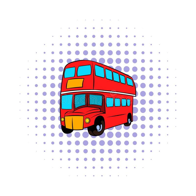 Symbolen för bussen London för den dubbla däckaren utformar den röda, komiker vektor illustrationer