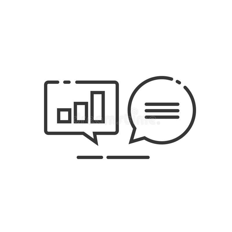 Symbolen för dataanalyticsvektorn, linjen översikten som analyserar informationsstatistik, pratar, sökandeoptimization, utredning royaltyfri illustrationer