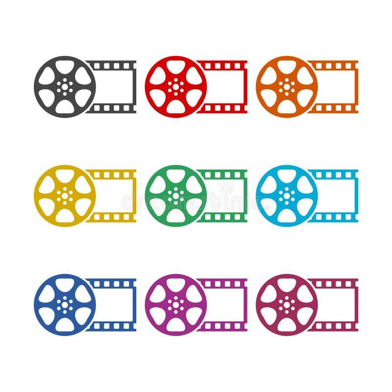 Symbolen för filmrullen, den videopd symbolen, färgsymboler ställde in stock illustrationer