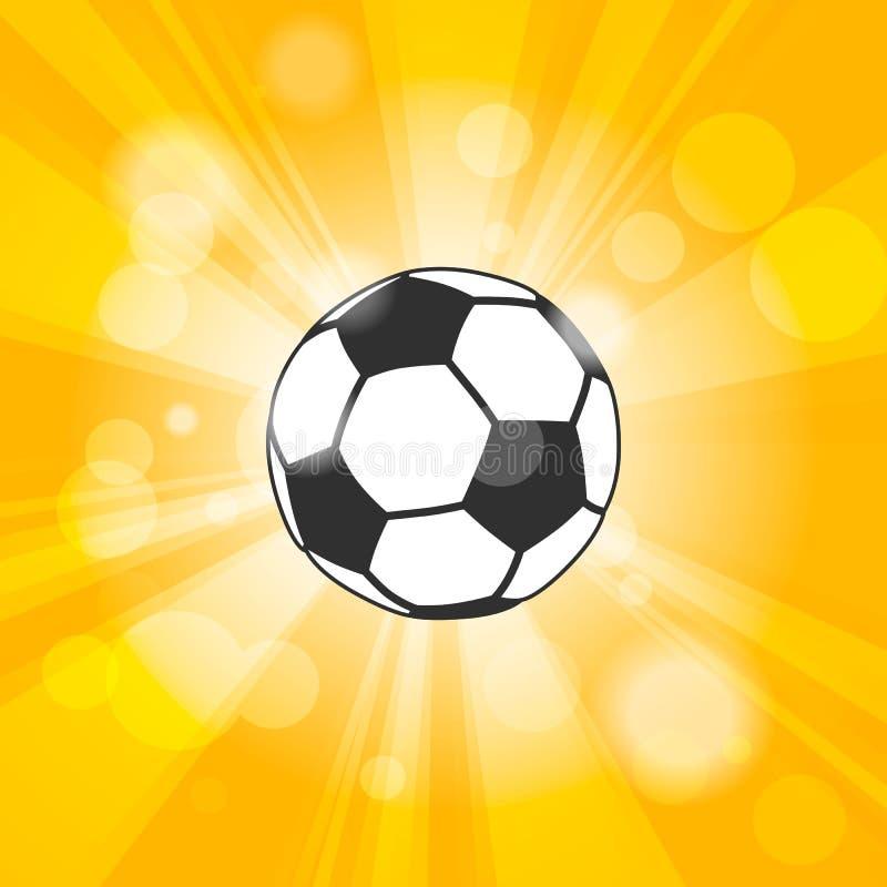 symbolen för fotbollbollen med skugga och exponeringen rays på gul bakgrund vektor illustrationer