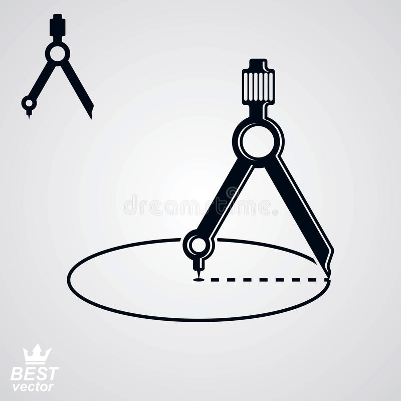 Symbolen för geometriidévektorn, specificerad kompass, inkluderar additio vektor illustrationer