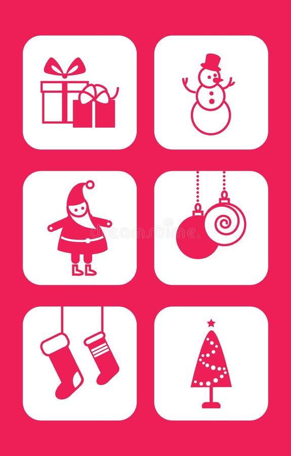 Symbolen för glad jul och för det lyckliga nya året ställde in stock illustrationer