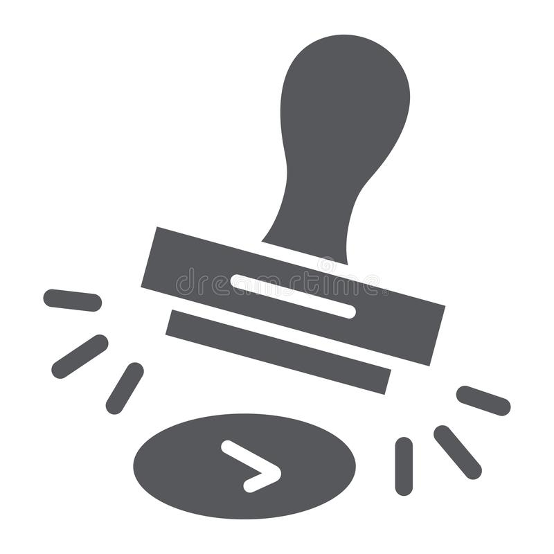 Symbolen för godkännandestämpelskåran, låter och stamperen, tecknet för gummistämpeln, vektordiagram, en fast modell på en vit ba vektor illustrationer