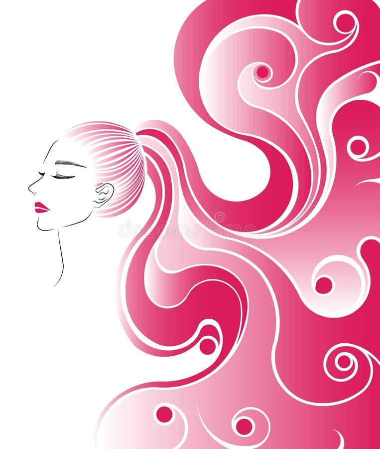 Symbolen för hästsvanshårstil, logokvinnor vänder mot på vit bakgrund royaltyfri illustrationer