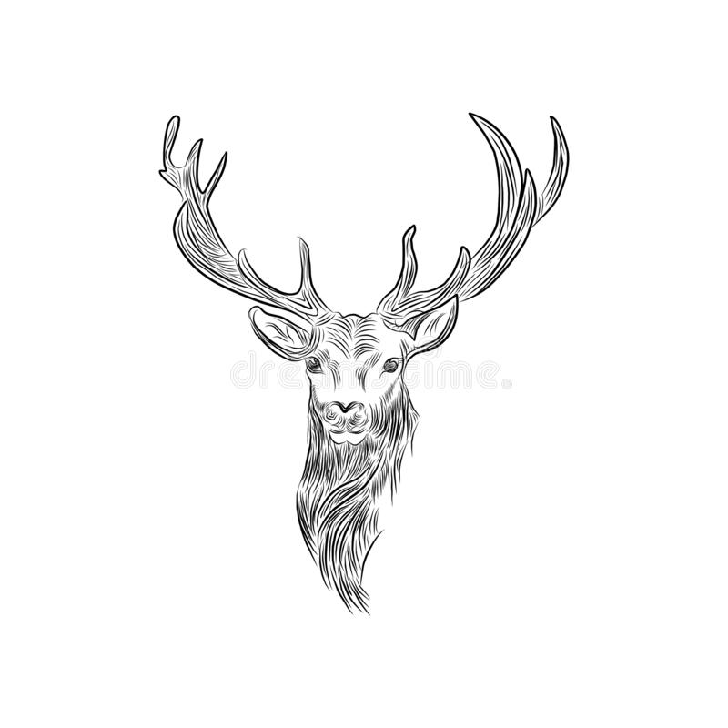 Symbolen för hjorthuvudlogoen skissar linjer royaltyfri illustrationer