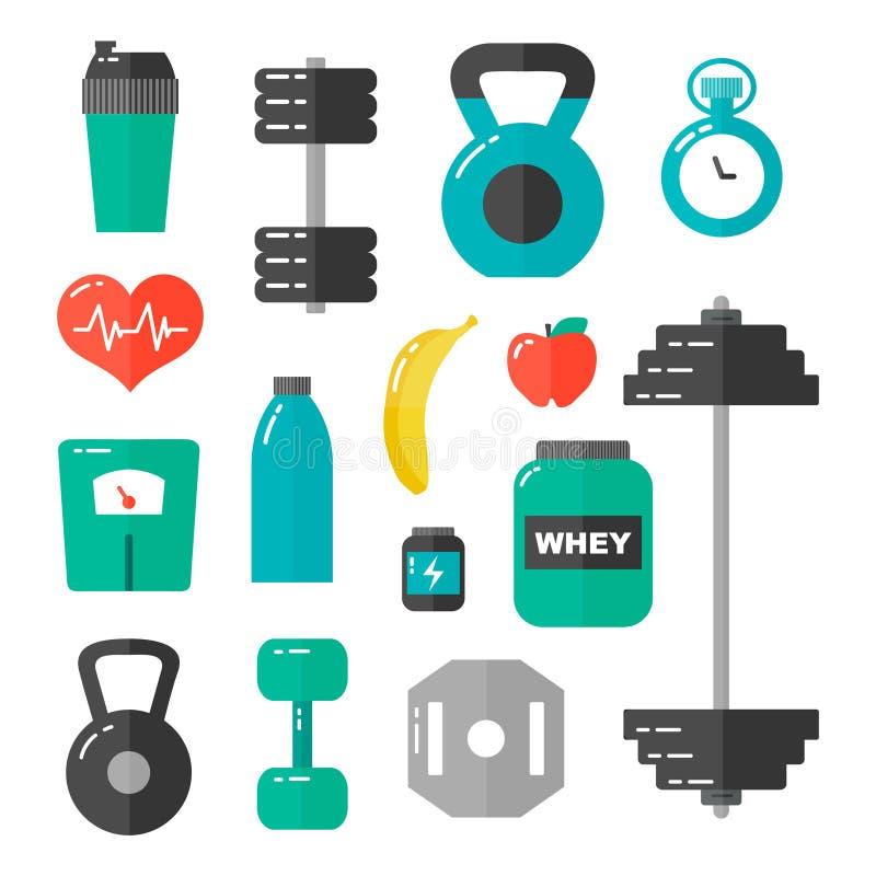 Symbolen för illustrationen för den idrottshall-, sjukvård- och sportlägenhetdesignen ställde in På white vektor illustrationer