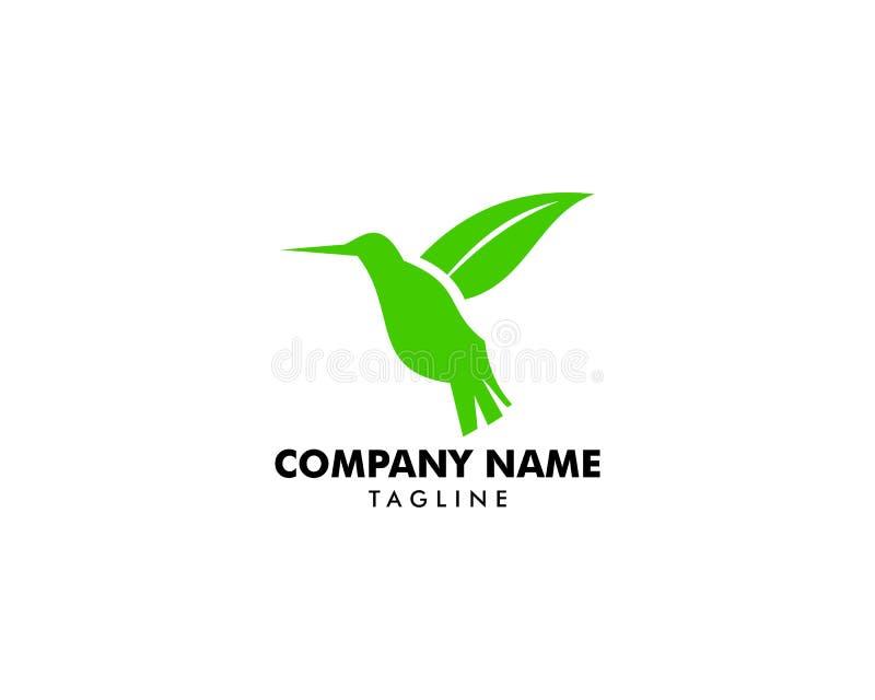 Symbolen för logoen för kolibrigräsplanbladet planlägger vektorillustrationen vektor illustrationer