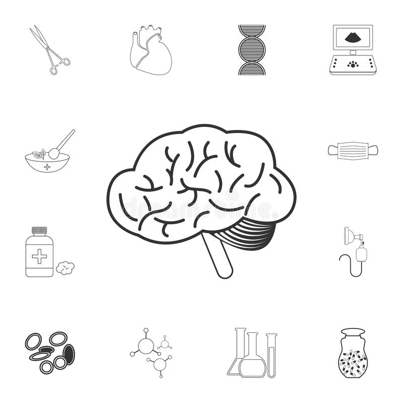 Symbolen för mänsklig hjärna Enkel beståndsdelillustration Symboldesignen för mänsklig hjärna från medicinsk samlingsuppsättning  royaltyfri illustrationer