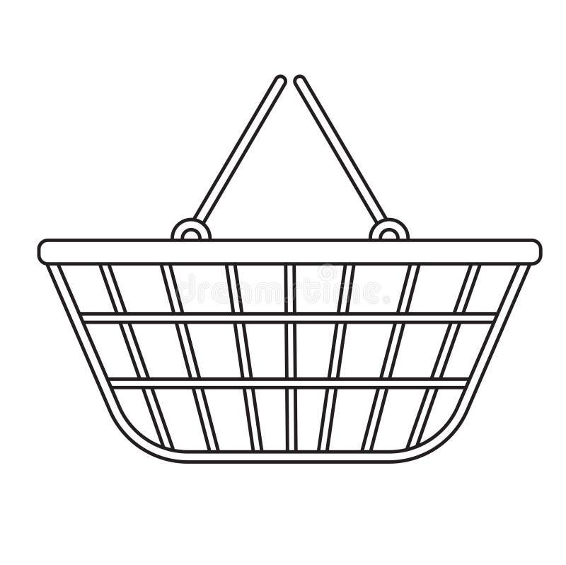 Symbolen för shoppingkorgen, modern linje, skissar, klottrar stil Metall ingrepp i en supermarket på vit bakgrund stock illustrationer