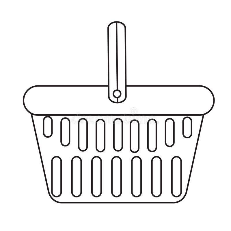 Symbolen för shoppingkorgen, modern linje, skissar, klottrar stil Plast- i en supermarket på vit bakgrund vektor vektor illustrationer