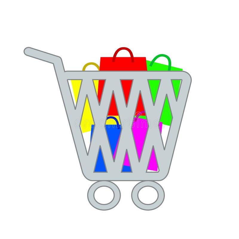 Symbolen för shoppingpåsen som är online- shoppar designen, vektorillustrationdiagram vektor illustrationer