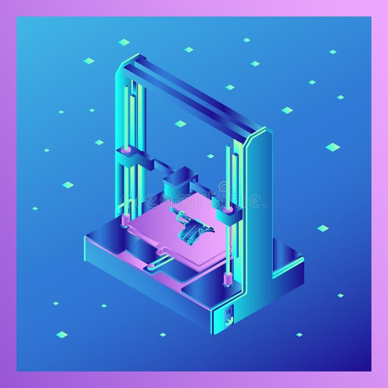 Symbolen för skrivare 3D som delarna av vapnet skrivs ut i royaltyfri illustrationer