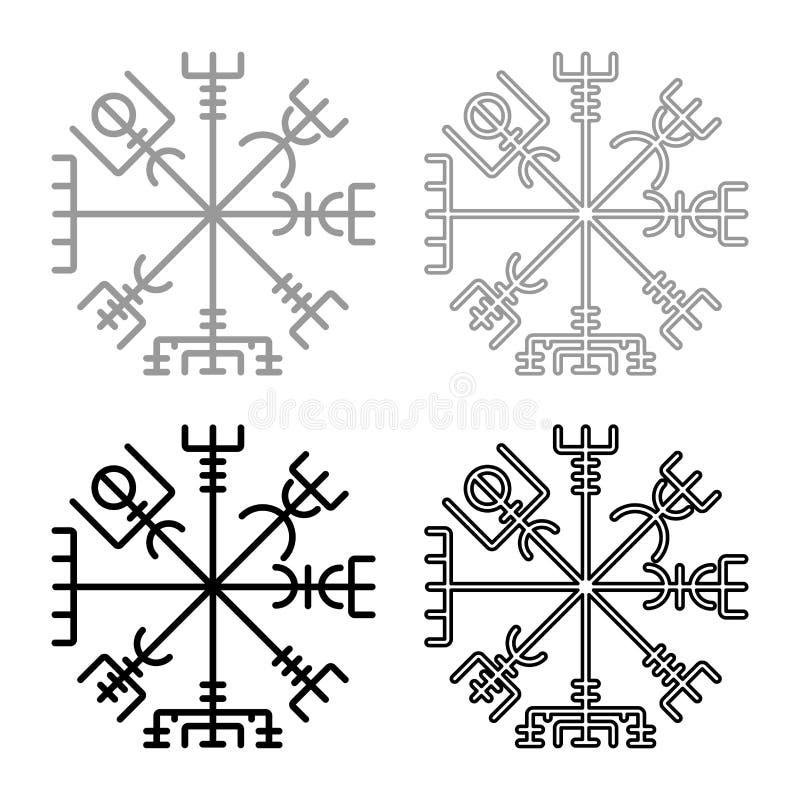 Symbolen in för symbolet för kompasset för navigering för Vegvisir ställde den run- kompassgaldrastav enkel bild för grå svart fö stock illustrationer