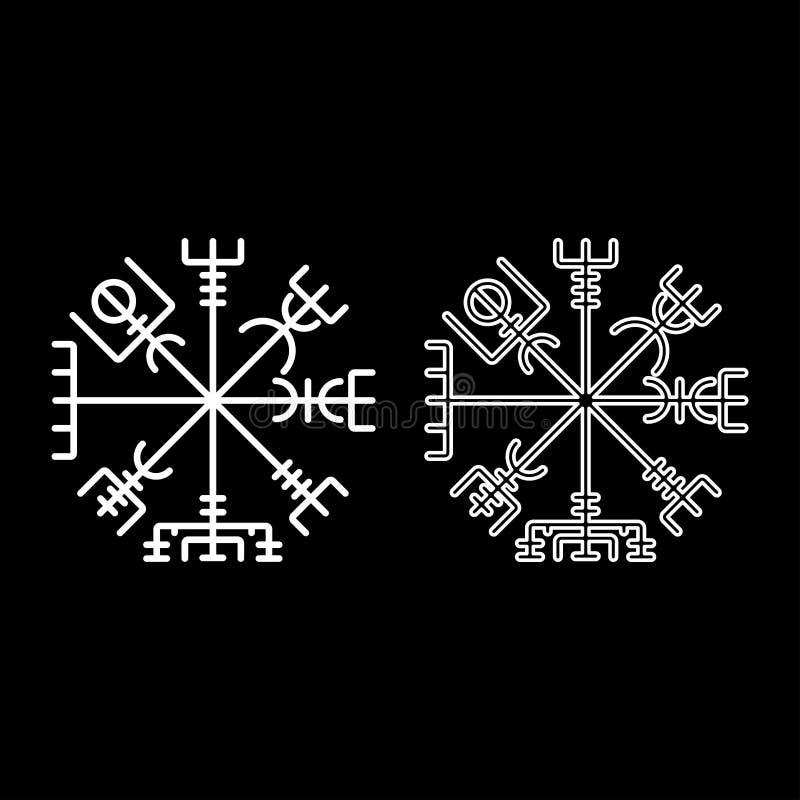Symbolen in för symbolet för kompasset för navigering för Vegvisir ställde den run- kompassgaldrastav enkel bild för vit stil för stock illustrationer