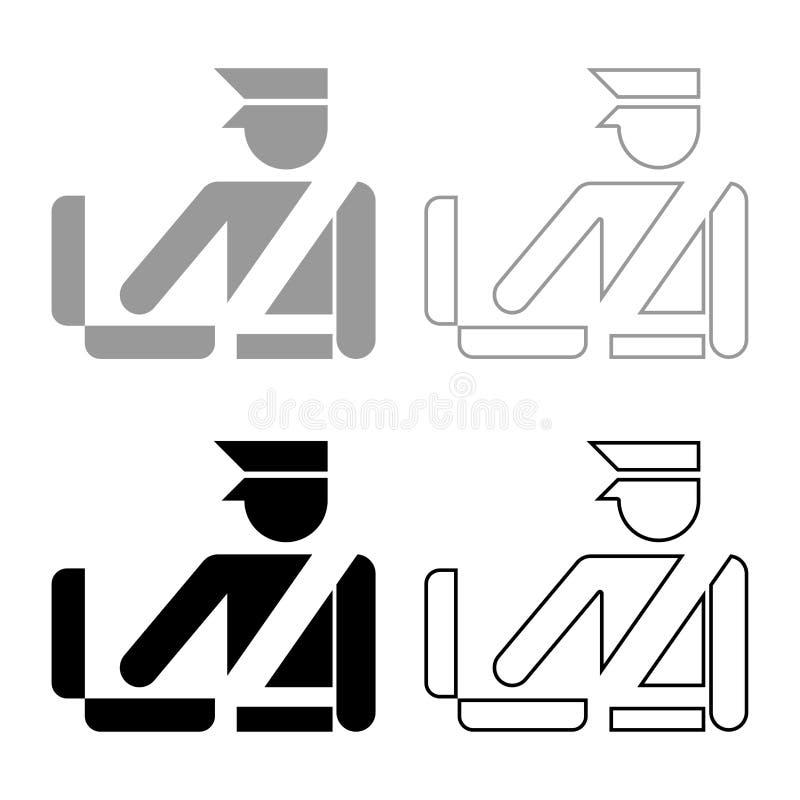 Symbolen in för tecknet för kontroll för bagage för kontroll för bagage för bagage för kontrollen för den egen tjänstemannen för  stock illustrationer