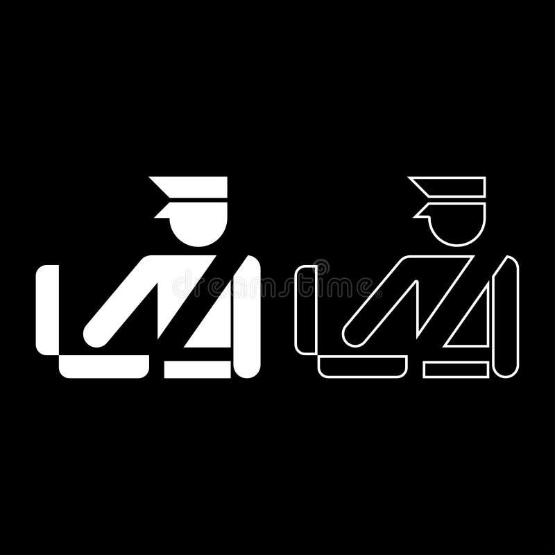 Symbolen in för tecknet för kontroll för bagage för kontroll för bagage för bagage för kontrollen för den egen tjänstemannen för  vektor illustrationer