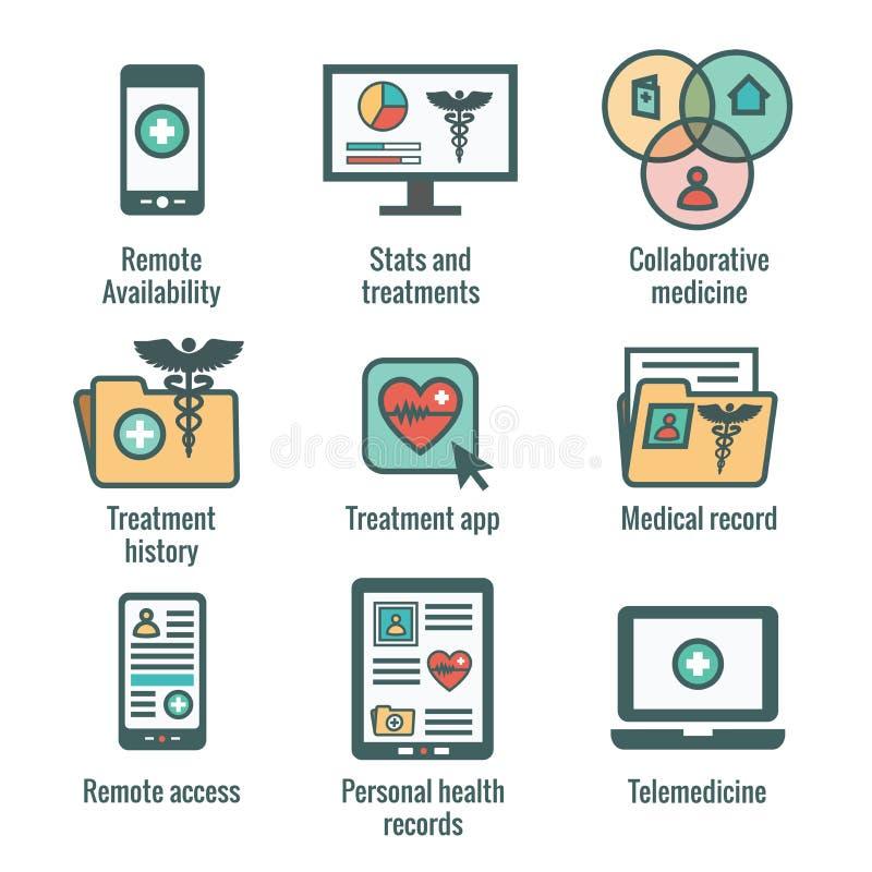 Symbolen för Telemedicine och för vård- rekord ställde in med caduceusen, mappfol stock illustrationer