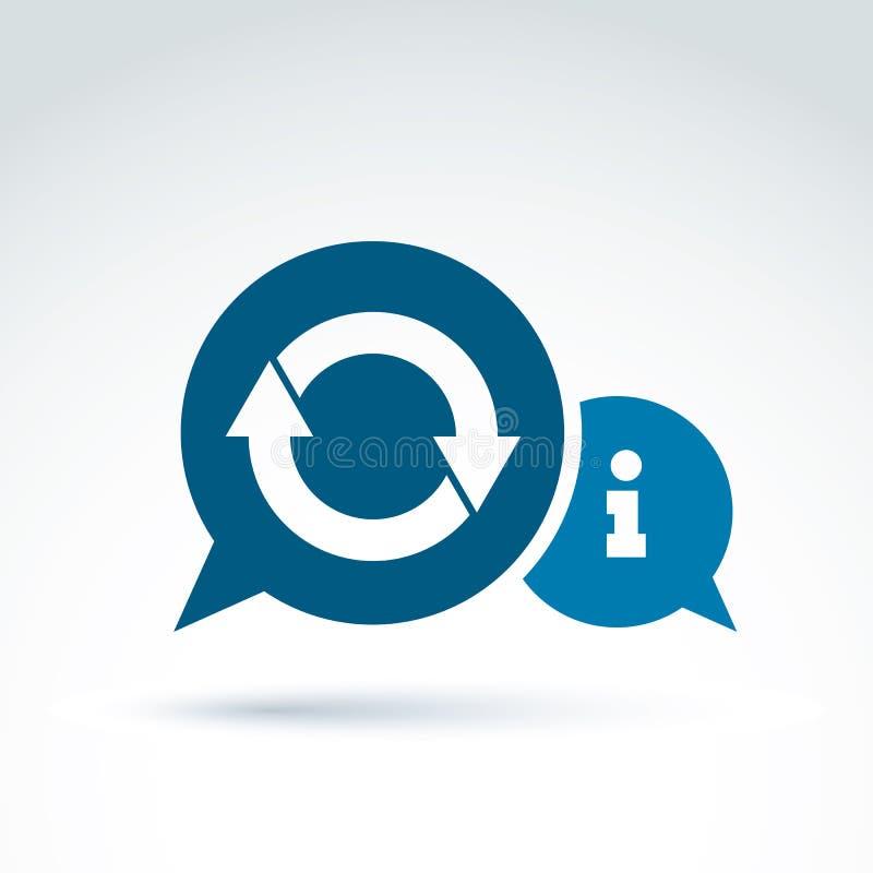 Symbolen för temat för informationsutbytet, mot efterkrav och analyserar information, vecto royaltyfri illustrationer
