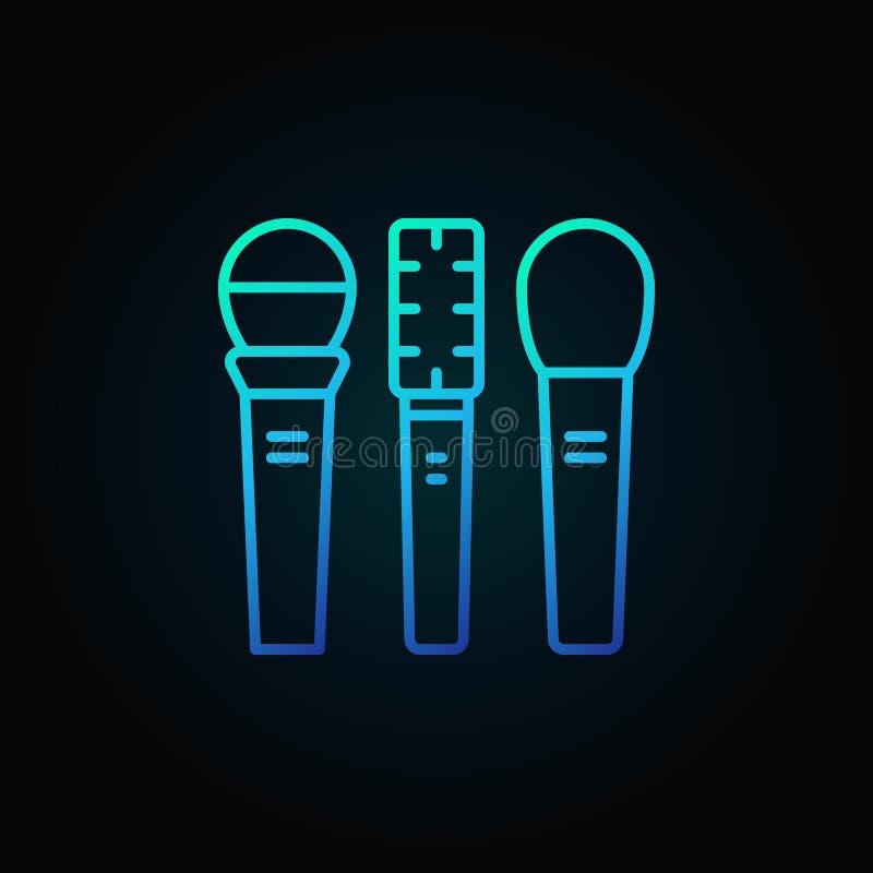 Symbolen för tre mikrofonvektorblått eller undertecknar in thin linjen stil stock illustrationer