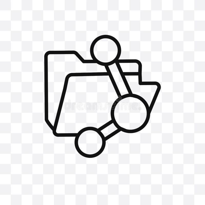 Symbolen för vektorn för dela för mapp som kan den linjära isoleras på genomskinlig bakgrund, begrepp för stordia för dela för ma vektor illustrationer