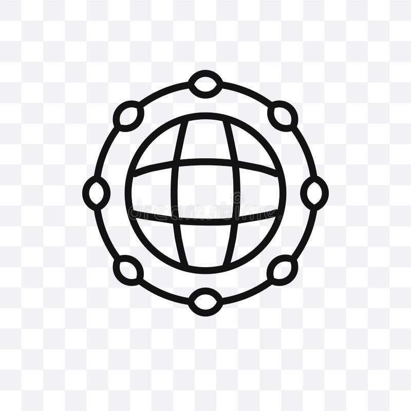 Symbolen för vektorn för det globala nätverket som kan den linjära isoleras på genomskinlig bakgrund, stordiabegreppet för det gl stock illustrationer