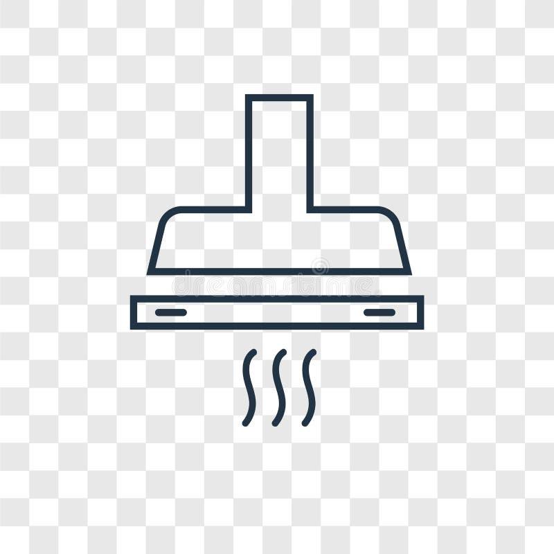 Symbolen för vektorn för utsugningsfläkthuvbegreppet som transparen den linjära isoleras på royaltyfri illustrationer