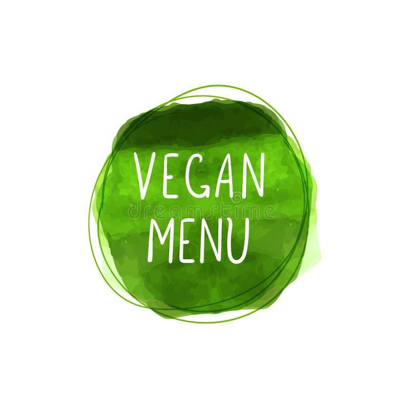 Symbolen för vektorstrikt vegetarianmenyn, vattenfärgstämpeln, grön målarfärgcirkel och klottrar linjer runt om den, isolerade Il stock illustrationer