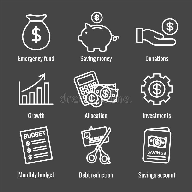 Symbolen f?r personlig finans & ansvarst?llde in med pengar, besparingen & att packa ihop alternativ vektor illustrationer
