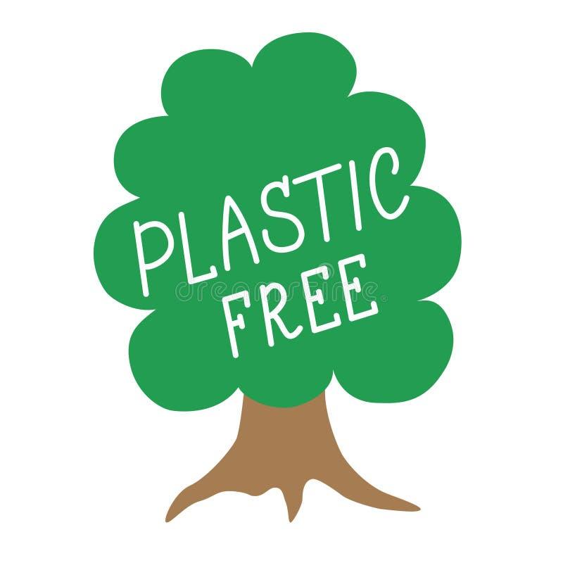 Symbolen i form av ett grönt träd med den plast- inskriften frigör Design för etiketter, klistermärkear gör ren planet royaltyfri illustrationer