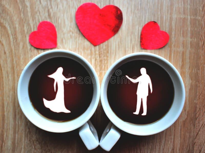 Symbolen in kop koffie royalty-vrije stock afbeeldingen