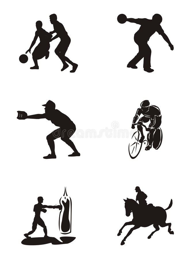 symbolen silhouettes sportar arkivfoton