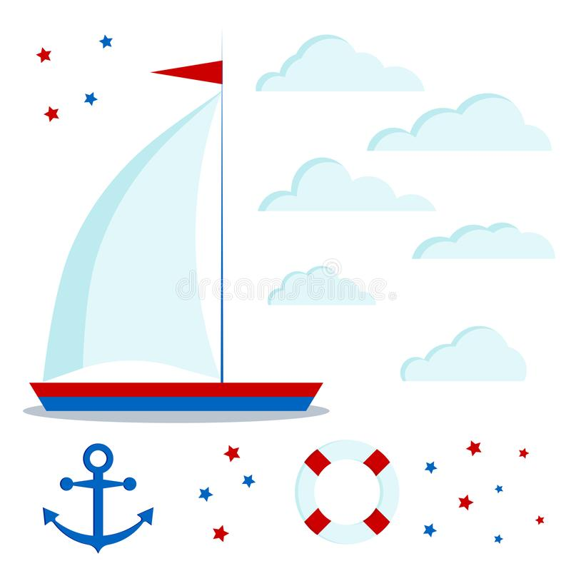Symbolen ställde in av blått, och den röda segelbåten med en seglar, moln, stjärnor, ankaret, livboj royaltyfri illustrationer