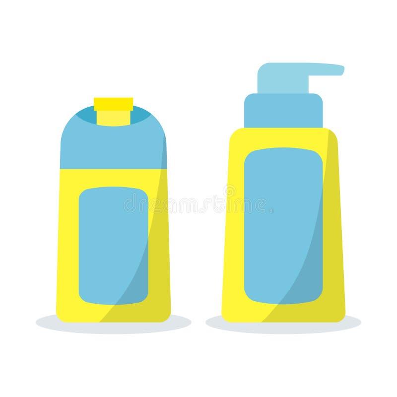 Symbolen ställde in av kosmetiska flaskor för badet i plan tecknad filmstil royaltyfri illustrationer