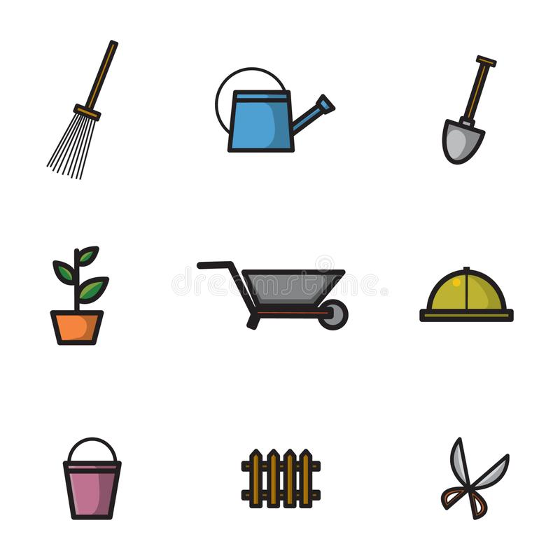 Symbolen ställde in med temat av behövda olika hjälpmedel för att arbeta i trädgården Med olika typer av illustrationer av att ar stock illustrationer