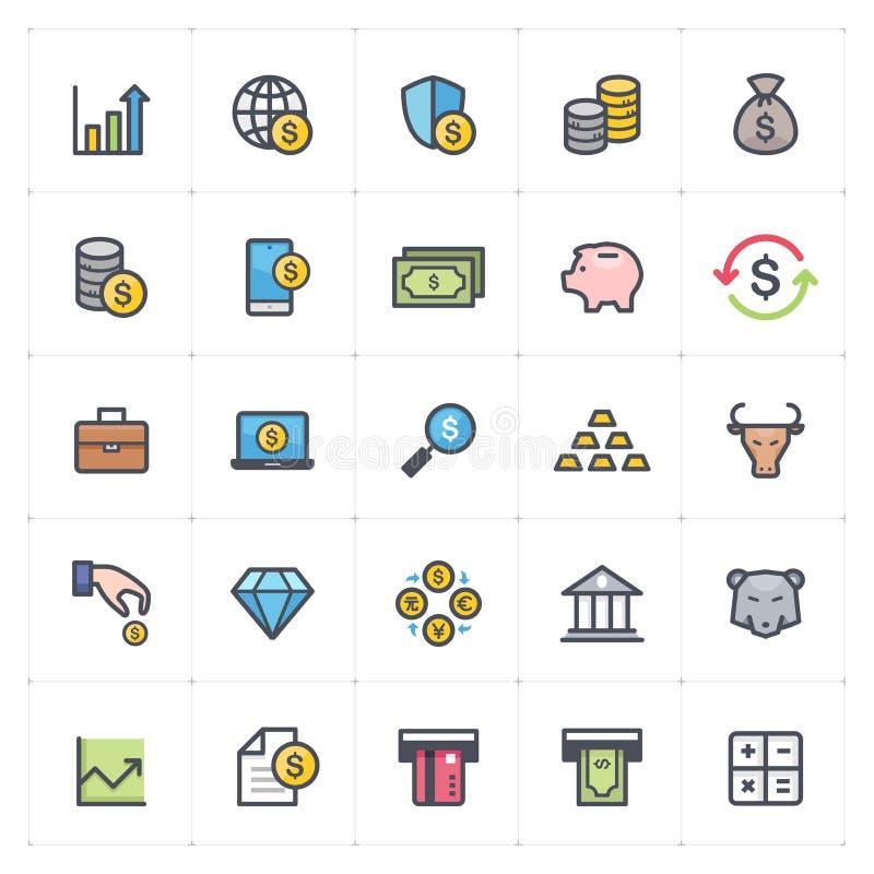 Symbolen ställde in - pengar och slaglängden för översikt för full färg för finans vektor illustrationer