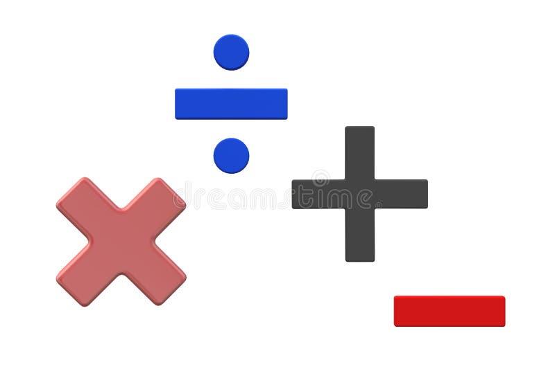 Symbolen van basiswiskunde - vermenigvuldiging, afdeling, toevoeging en aftrekking stock illustratie