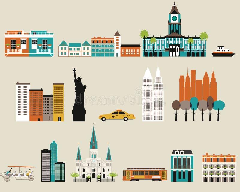 Symbolen van beroemde steden stock illustratie