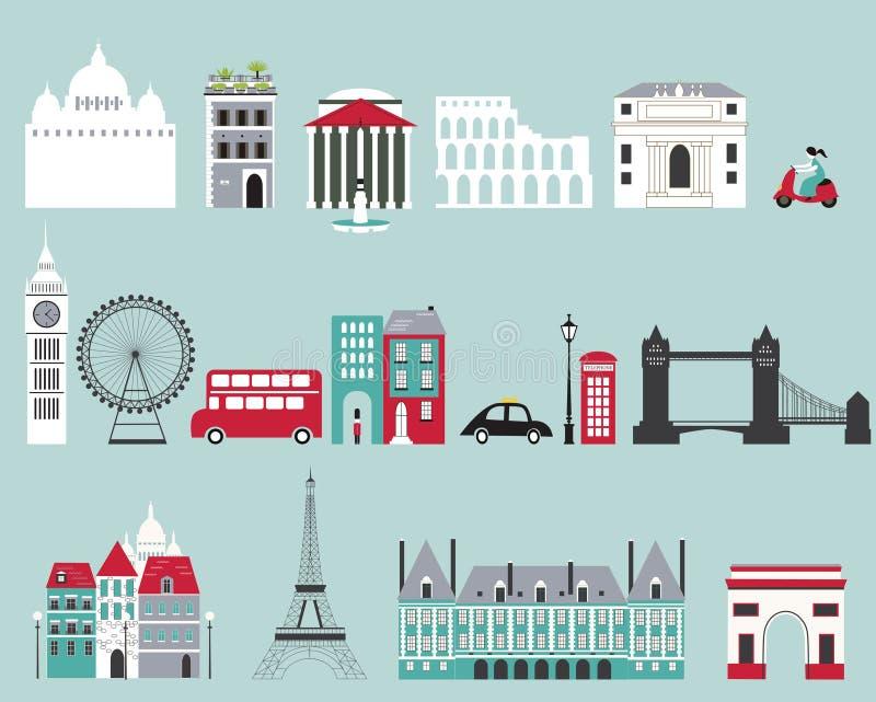 Symbolen van beroemde steden. vector illustratie
