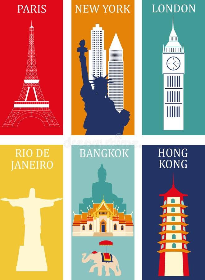 Symbolen van beroemde steden vector illustratie