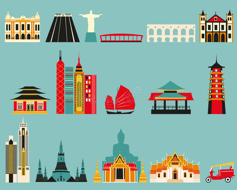 Symbolen van beroemde steden royalty-vrije illustratie