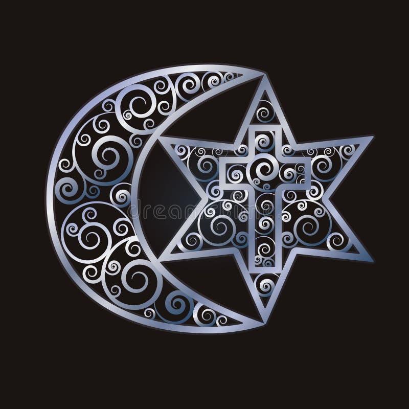 Symbolen van de drie wereldgodsdiensten - Judaïsme, Christendom, Islam vector illustratie