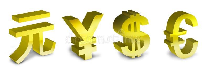 Symbolen van de euro, de Yen, yuan en de dollar stock illustratie