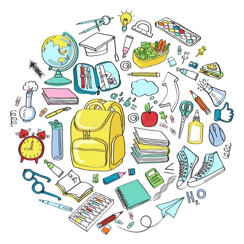 Symbolen van de schoolpictogrammen van de school clipart de Vectorkrabbel royalty-vrije stock afbeeldingen