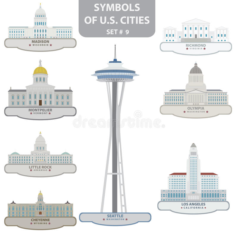 Symbolen van de steden van de V.S. stock illustratie