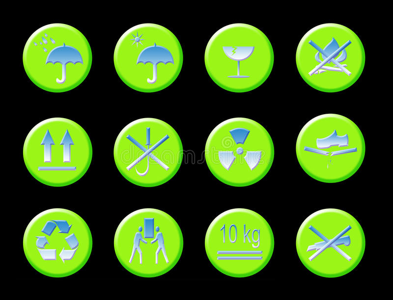 Symbolen van de Waarschuwing van de doos de Algemene royalty-vrije illustratie