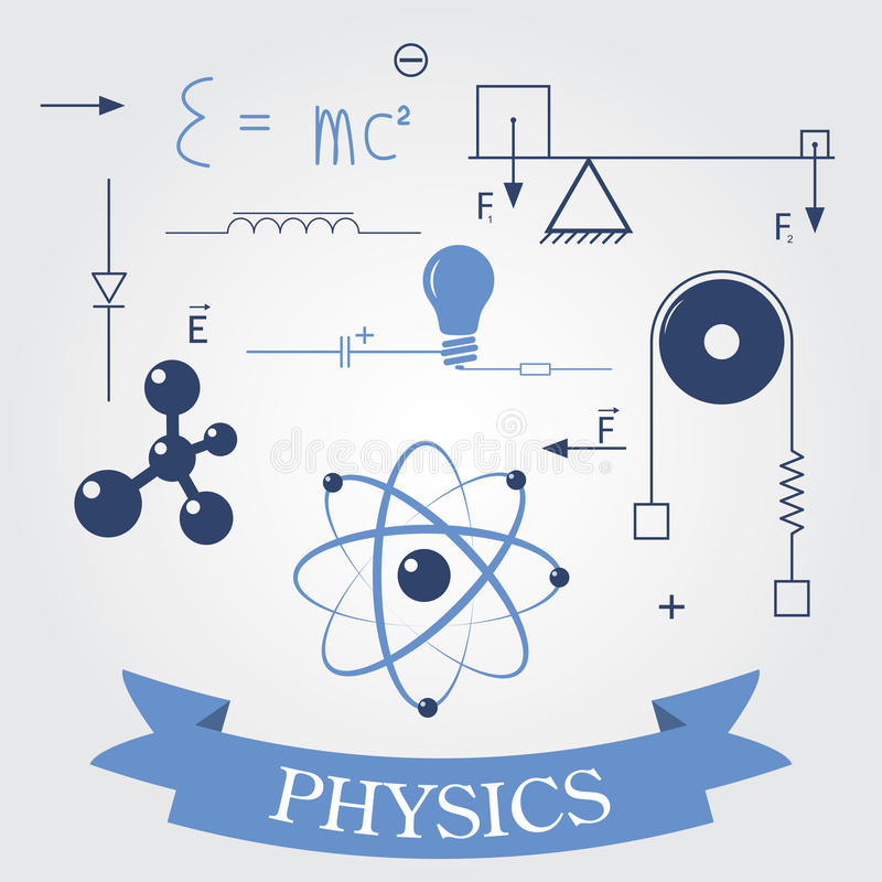 Symbolen van fysica vector illustratie