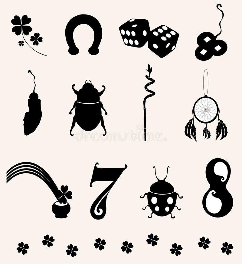 12 symbolen van geluk royalty-vrije illustratie
