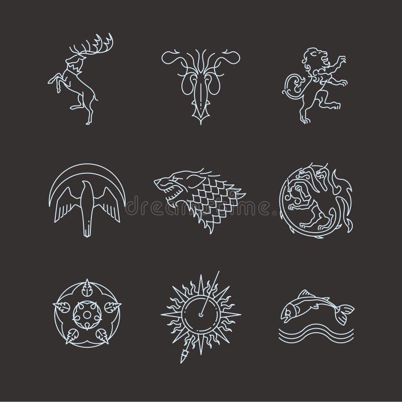 Symbolen van het gokkentronen van lijn de heraldische dieren vector illustratie