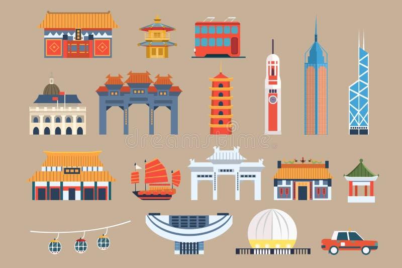 Symbolen van Hong Kong-kasseisteen, Chineset-oriëntatiepunten, de vectorillustraties van reiselementen op een beige achtergrond royalty-vrije illustratie